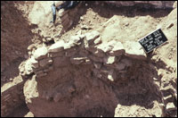 Masonry wall in fill of Kiva 1, close to southern recess (SL-YJ-JC-011
