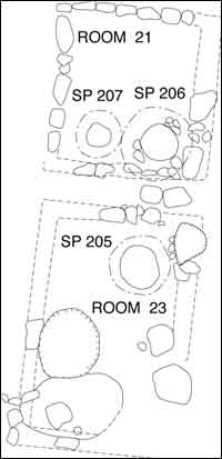 Plan Map of Rooms 21 and 23 and Associated Features, Porter Area